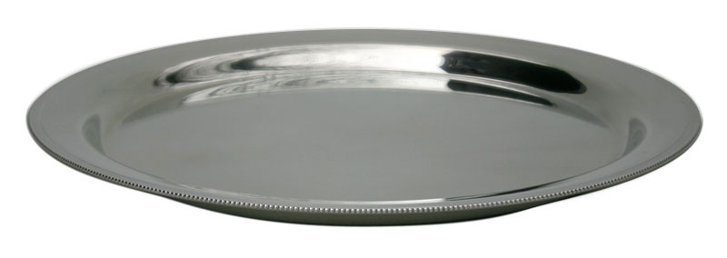 serving tray with beaded edge gibson pewter