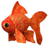 Fabric Goldfish sculpture by Camille Gibson