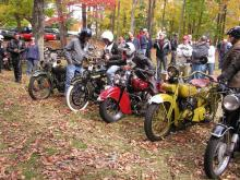 A group of vintage motorcycles at Pewter Run 2010