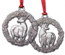 Buck in Wreath ornament (front & back)