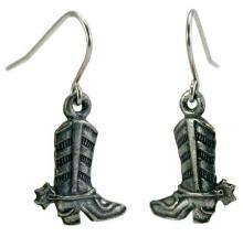 Photo of Pewter Cowboy Boot Earrings