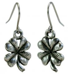 Photo of Pewter Four-Leaf Clover Earrings