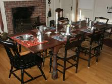 Photo of Elegant Dining Table with Pewter Settings